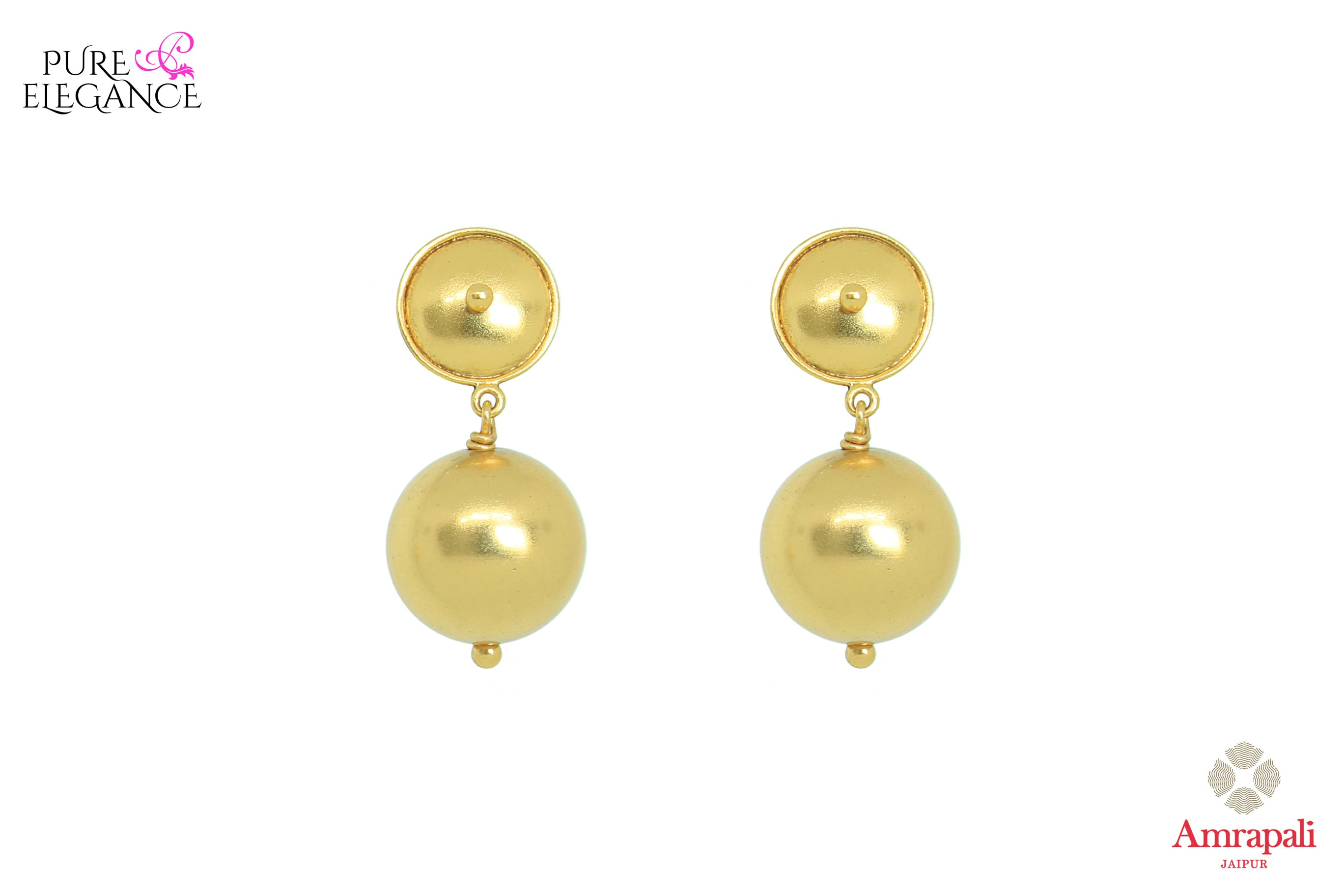 Shop Amrapali silver gold plated drop earrings online in USA. Bring out the best in your ethnic look with traditional Indian jewelry available at Pure Elegance fashion store in USA. We have a stunning variety of Indian gold plated jewellery also available at our online store. Shop now.-front view