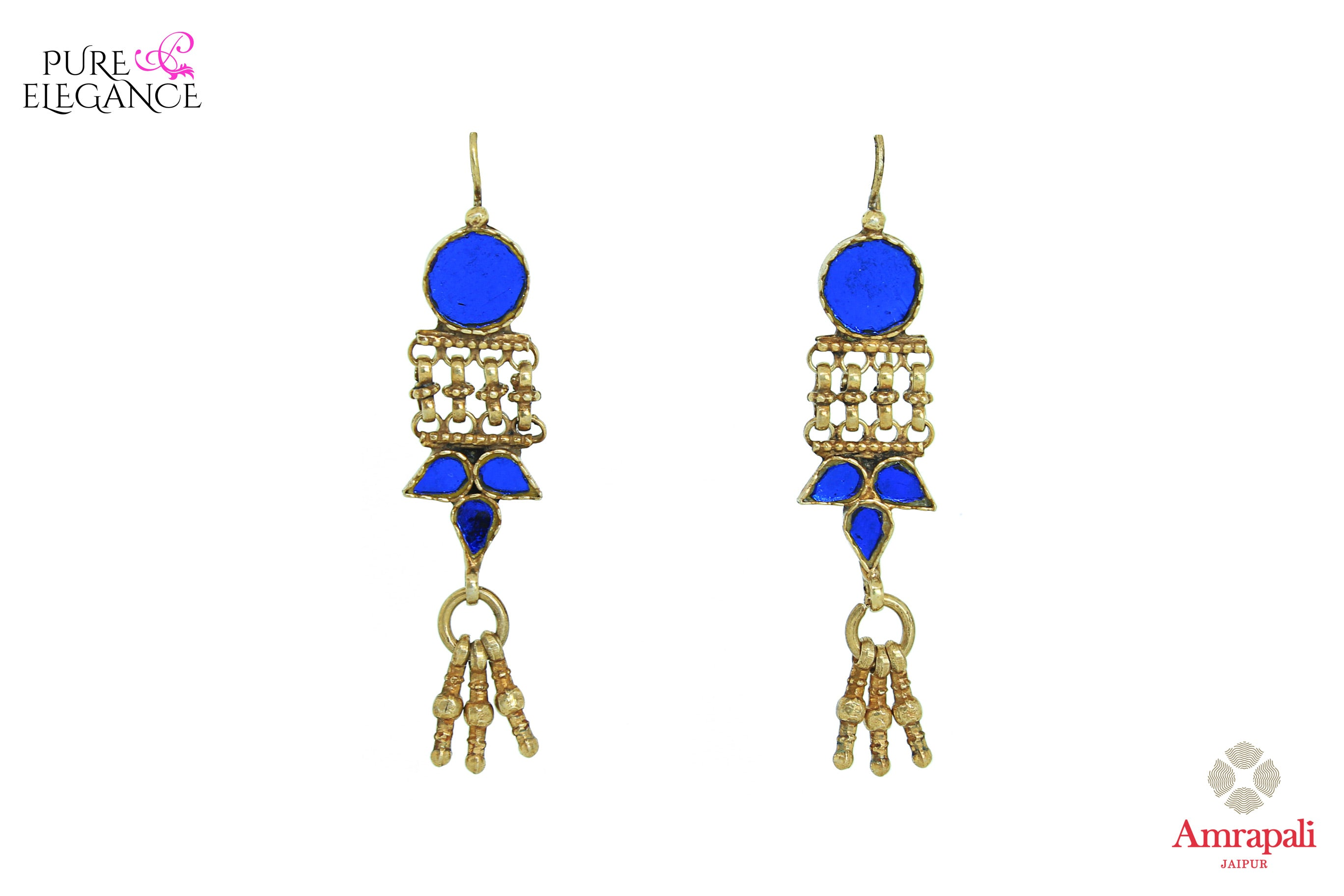 Shop Amrapali silver gold plated blue glass tribal earrings online in USA. Bring out the best in your ethnic look with traditional Indian jewelry available at Pure Elegance fashion store in USA. We have a stunning variety of Indian gold plated jewelry also available at our online store. Shop now.-front view
