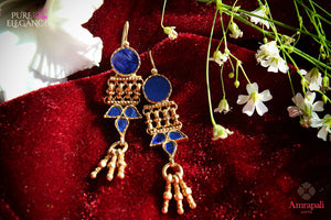 Shop Amrapali silver gold plated blue glass tribal earrings online in USA. Bring out the best in your ethnic look with traditional Indian jewelry available at Pure Elegance fashion store in USA. We have a stunning variety of Indian gold plated jewelry also available at our online store. Shop now.-full view