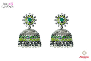 Shop Amrapali ethnic silver jhumki earrings online in USA with green enamel. Bring out the best in your ethnic look with traditional Indian jewelry available at Pure Elegance fashion store in USA. We have a stunning variety of Indian gold plated earrings also available at our online store. Shop now.-front view