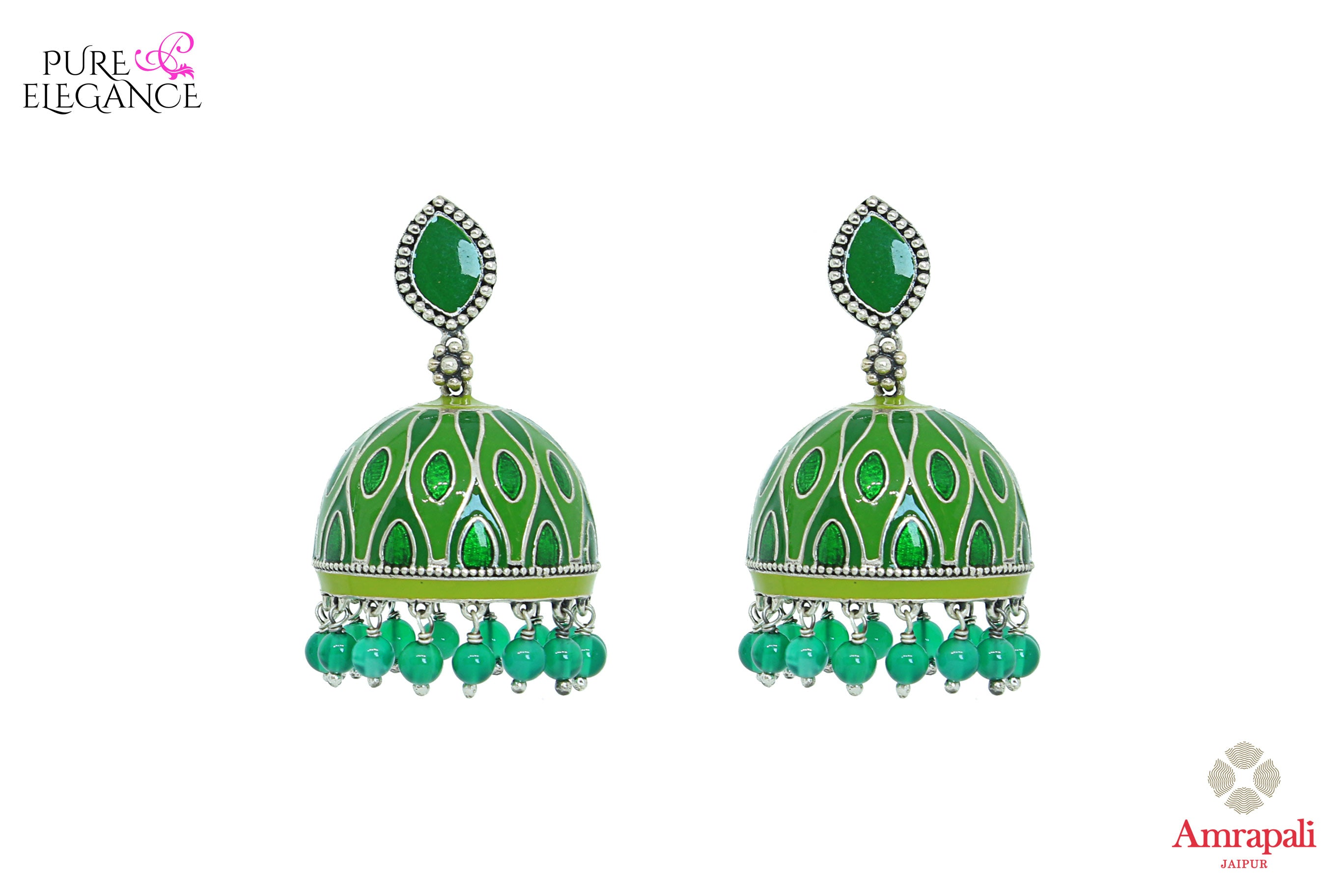 Shop silver green enamel jhumki earrings online in USA with green beads. Bring out the best in your ethnic look with traditional Indian jewelry available at Pure Elegance fashion store in USA. We have a stunning variety of silver earrings by Amrapali also available at our online store. Shop now.-front view