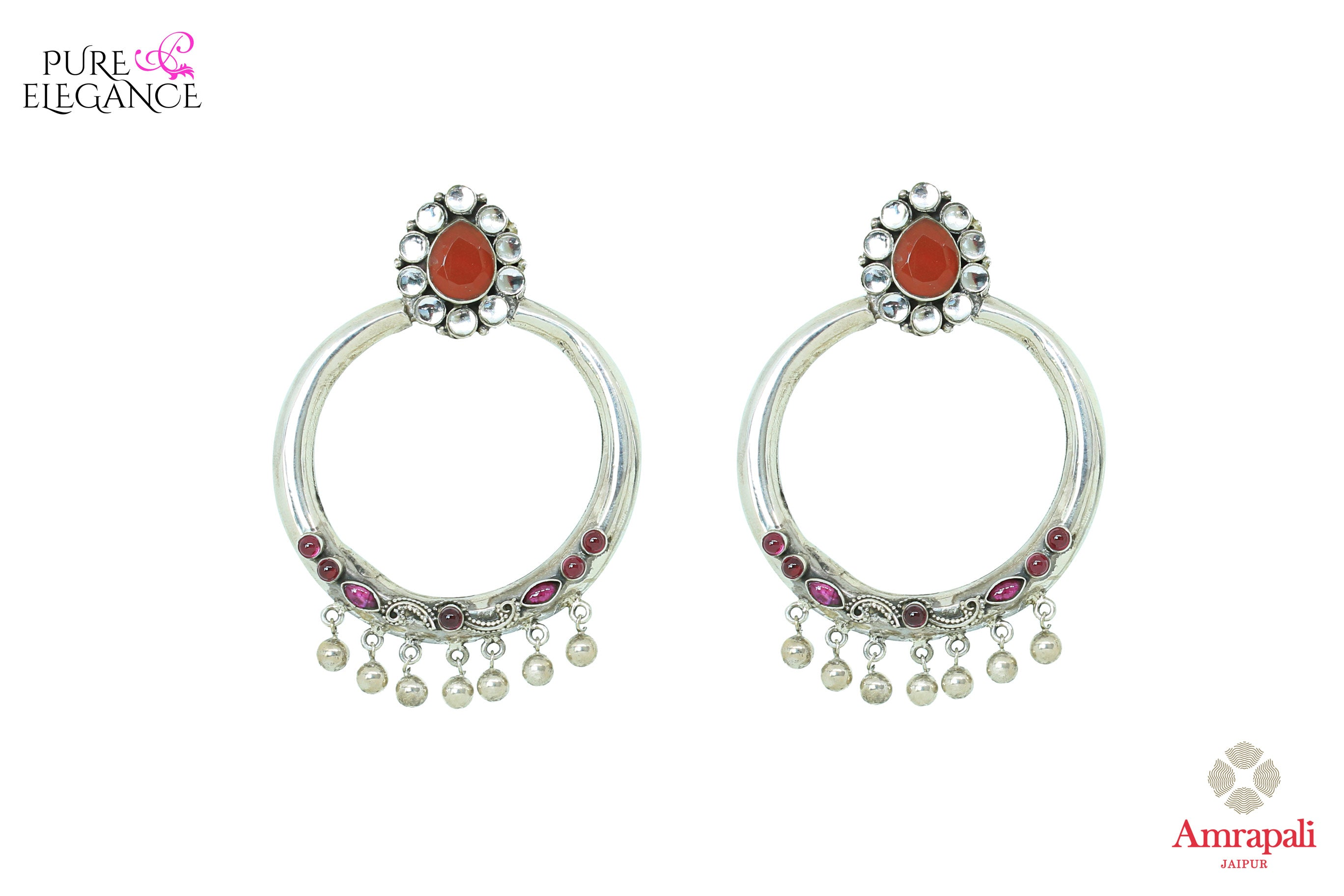 Buy silver round hoop earrings online in USA with colored stones. Bring out the best in your ethnic look with traditional Indian jewelry available at Pure Elegance fashion store in USA. We have a stunning variety of silver earrings by Amrapali also available at our online store. Shop now.-front view