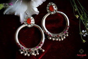 Buy silver round hoop earrings online in USA with colored stones. Bring out the best in your ethnic look with traditional Indian jewelry available at Pure Elegance fashion store in USA. We have a stunning variety of silver earrings by Amrapali also available at our online store. Shop now.-full view