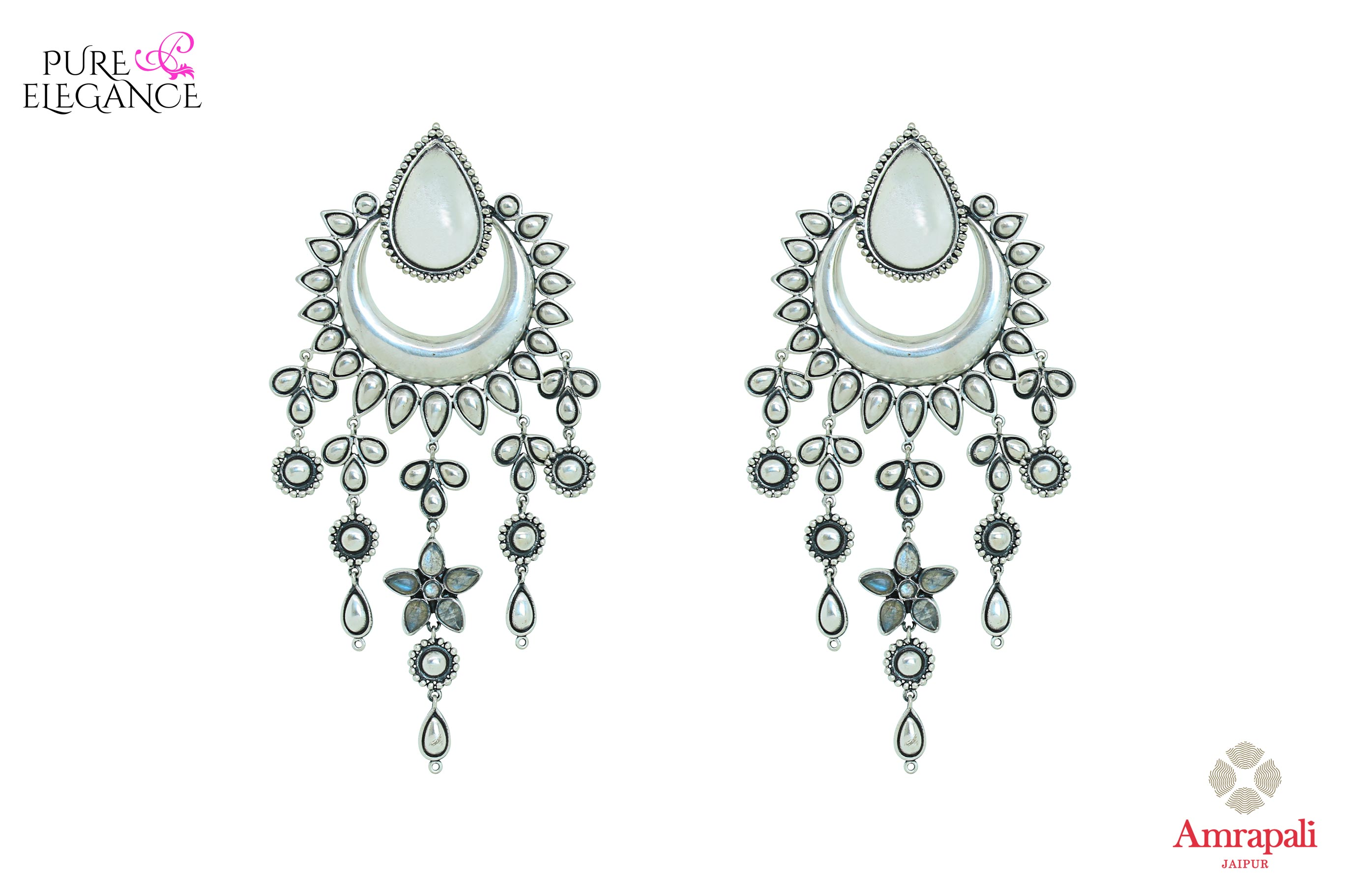 Shop Amrapali silver earrings with tassels online in USA. Find an exquisite collection of handcrafted Indian jewelry in USA at Pure Elegance Indian fashion store. Complete your festive look with beautiful silver gold plated necklaces, silver gold plated earrings, silver jewelry from our online store.-front