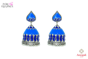 Shop Amrapali silver blue enamel jhumka earrings online in USA. Find an exquisite collection of handcrafted Indian jewelry in USA at Pure Elegance Indian fashion store. Complete your festive look with beautiful silver gold plated necklaces, silver gold plated earrings, silver jewelry from our online store.-front
