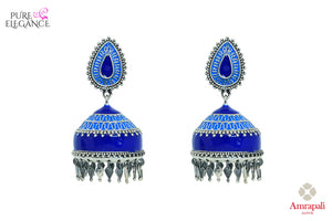 Shop beautiful Amrapali silver blue enamel jhumki earrings online in USA. Find an exquisite collection of handcrafted Indian jewelry in USA at Pure Elegance Indian fashion store. Complete your festive look with beautiful silver gold plated necklaces, silver gold plated earrings, silver jewelry from our online store.-front