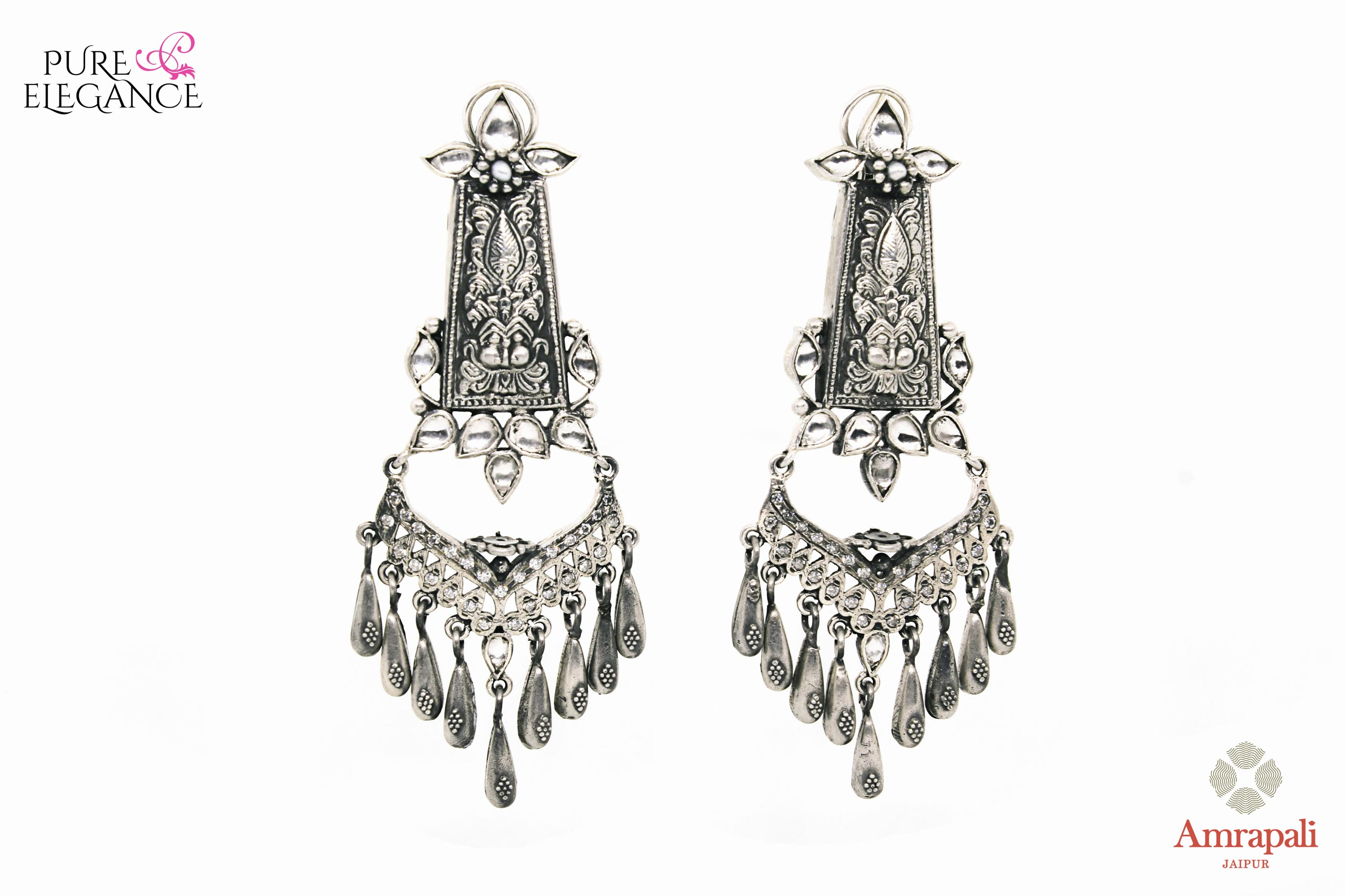 Buy Amrapali silver glass earrings online in USA. Find an exquisite collection of handcrafted Indian jewelry in USA at Pure Elegance Indian fashion store. Complete your festive look with beautiful silver gold plated necklaces, silver gold plated earrings, silver jewelry from our online store.-front