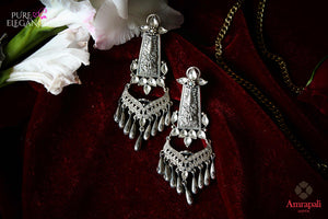 Buy Amrapali silver glass earrings online in USA. Find an exquisite collection of handcrafted Indian jewelry in USA at Pure Elegance Indian fashion store. Complete your festive look with beautiful silver gold plated necklaces, silver gold plated earrings, silver jewelry from our online store.-flatlay