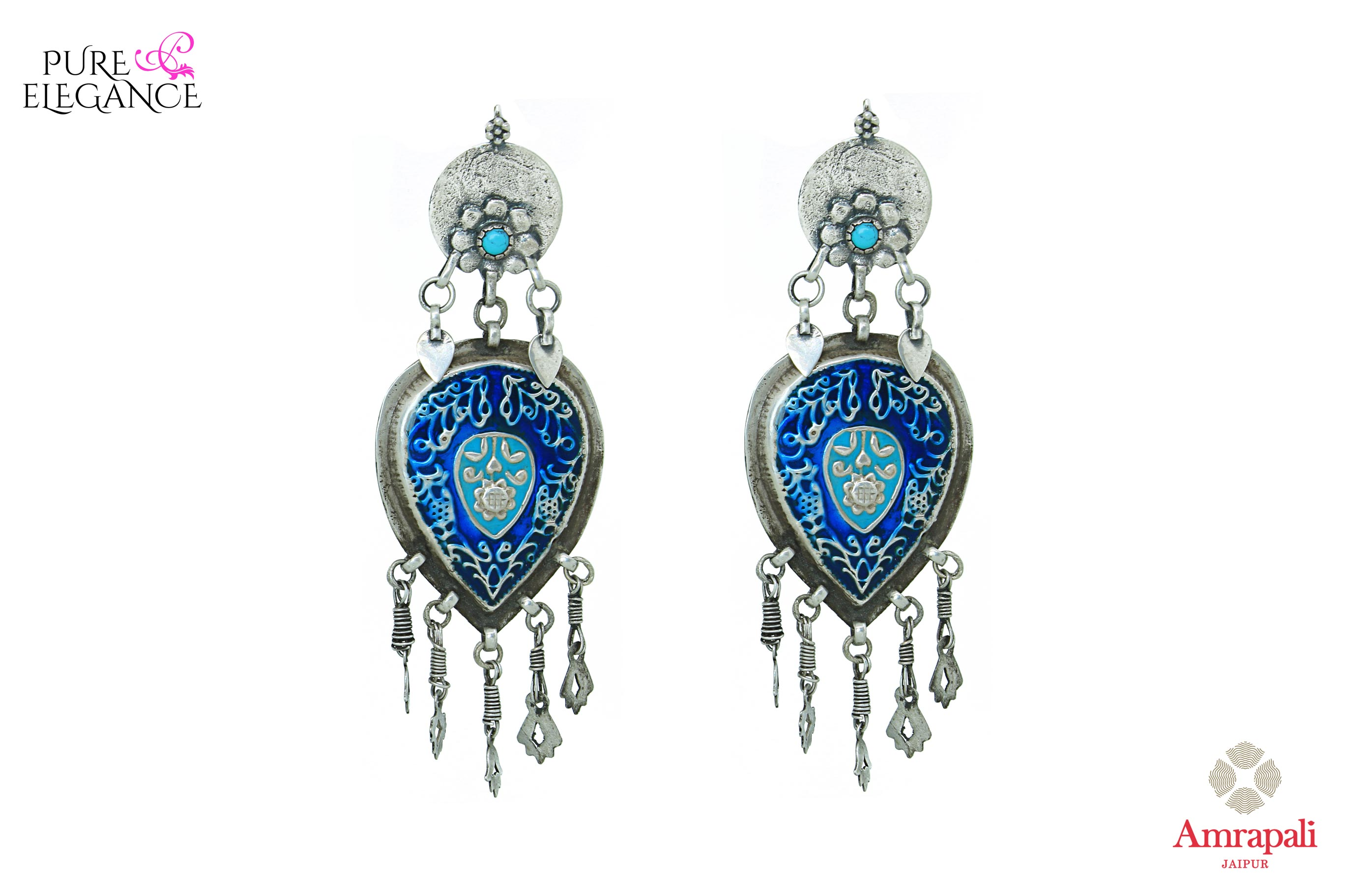 Buy Amrapali silver handcrafted enamel earrings online in USA. Find an exquisite collection of handcrafted Indian jewelry in USA at Pure Elegance Indian fashion store. Complete your festive look with beautiful silver gold plated necklaces, silver gold plated earrings, silver jewelry from our online store.-front