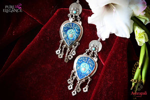 Buy Amrapali silver handcrafted enamel earrings online in USA. Find an exquisite collection of handcrafted Indian jewelry in USA at Pure Elegance Indian fashion store. Complete your festive look with beautiful silver gold plated necklaces, silver gold plated earrings, silver jewelry from our online store.-flatlay