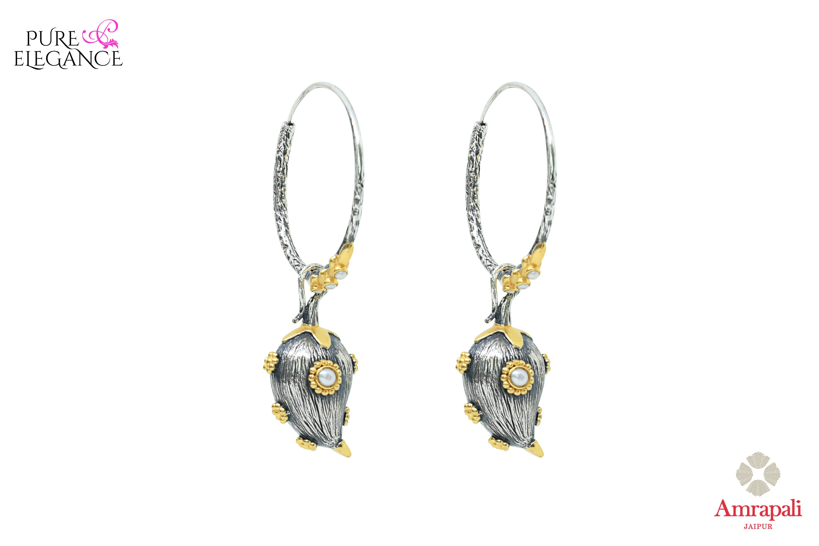 Shop Amrapali silver gold plated bali earrings online in USA. Find an exquisite collection of handcrafted Indian jewelry in USA at Pure Elegance Indian fashion store. Complete your festive look with beautiful silver gold plated necklaces, silver gold plated earrings, silver jewelry from our online store.-front