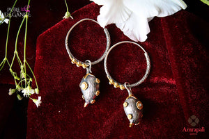 Shop Amrapali silver gold plated bali earrings online in USA. Find an exquisite collection of handcrafted Indian jewelry in USA at Pure Elegance Indian fashion store. Complete your festive look with beautiful silver gold plated necklaces, silver gold plated earrings, silver jewelry from our online store.-flatlay