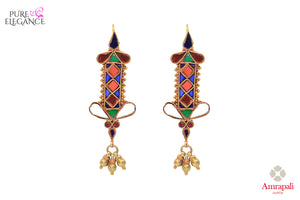 Shop Amrapali silver gold plated colored glass tribal earrings online in USA. Find an exquisite collection of handcrafted Indian jewelry in USA at Pure Elegance Indian fashion store. Complete your festive look with beautiful silver gold plated necklaces, silver gold plated earrings, silver jewelry from our online store.-front