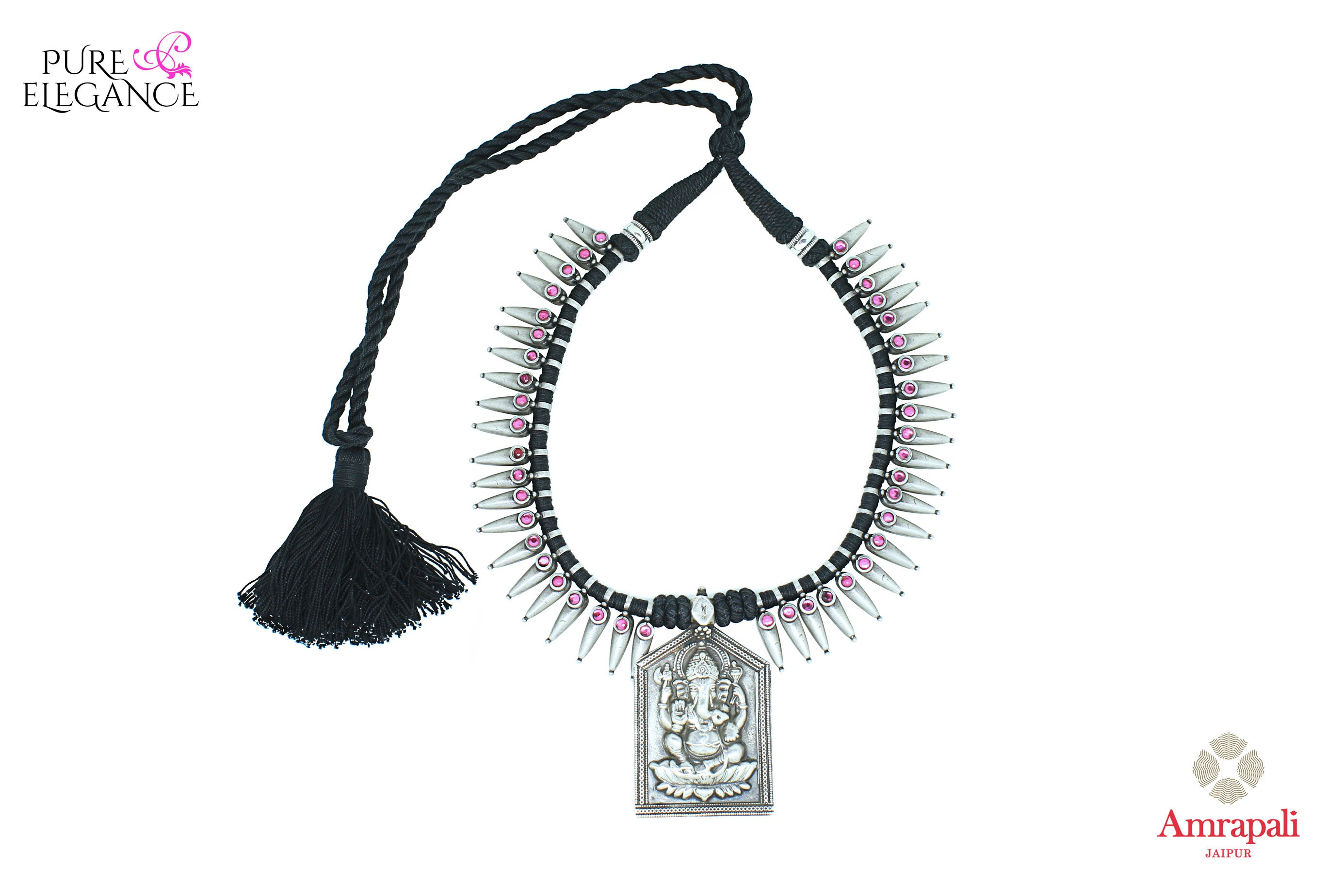 Buy antique silver thread necklace online in USA with Lord Ganesha pendant. Get your hands on an alluring range of Indian silver jewelry from Amrapali in USA. Add extra edge to your ethnic look with beautiful silver gold plated jewelry available at Pure Elegance Indian fashion store in USA.-front view