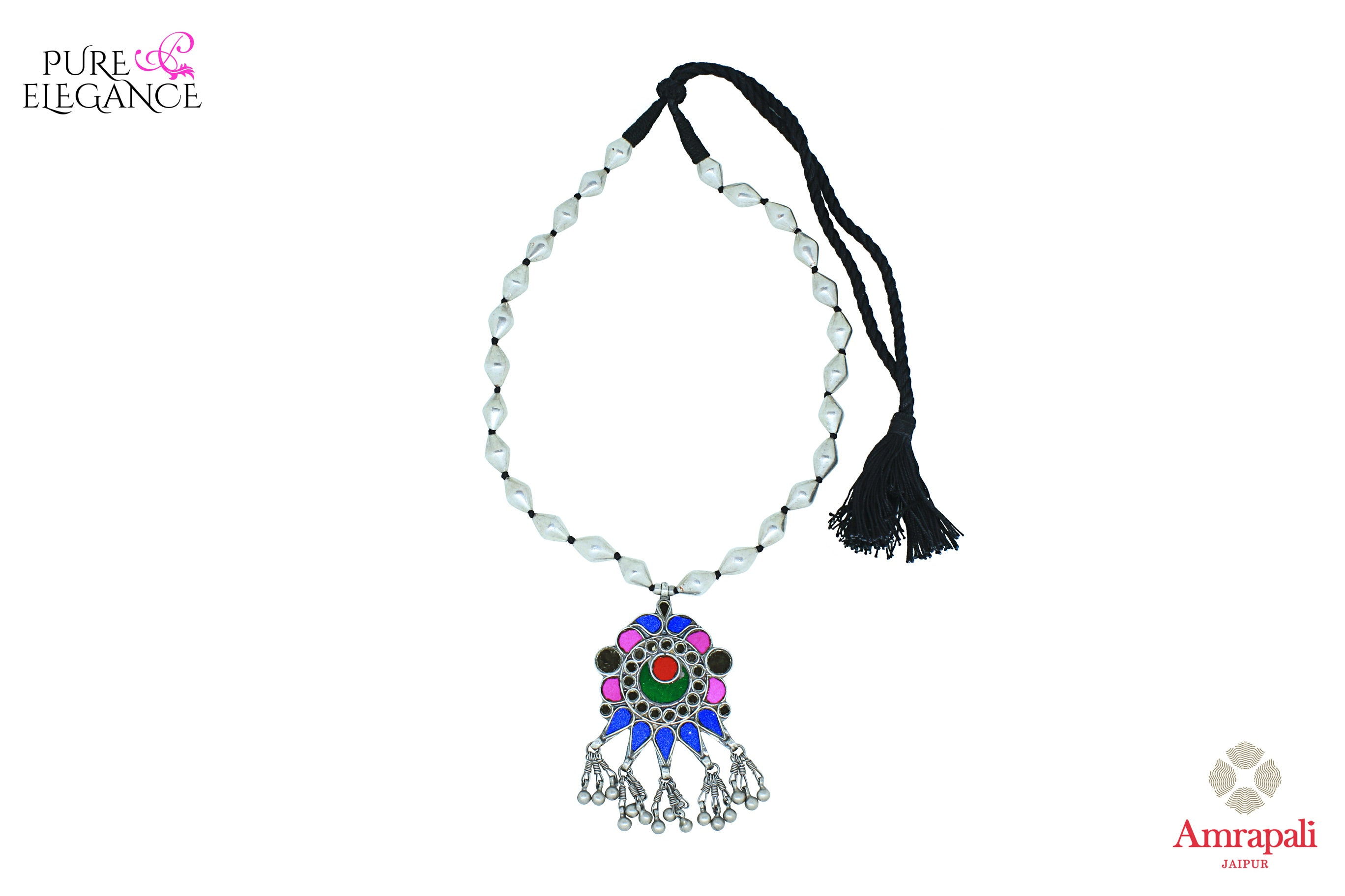 Buy silver dholki thread necklace online in USA with multicolor glass pendant. Get your hands on an alluring range of Indian silver necklaces from Amrapali in USA. Add extra edge to your ethnic look with beautiful silver gold plated jewelry available at Pure Elegance Indian fashion store in USA.-front view