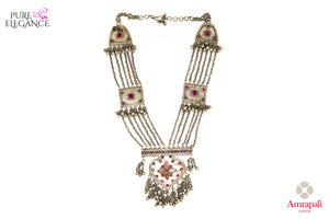 Buy Amrapali tribal silver glass necklace online in USA with hanging silver beads. Get your hands on an alluring range of Indian silver necklaces from Amrapali in USA. Add extra edge to your ethnic look with ethnic silver jewelry available at Pure Elegance Indian fashion store in USA.-front view