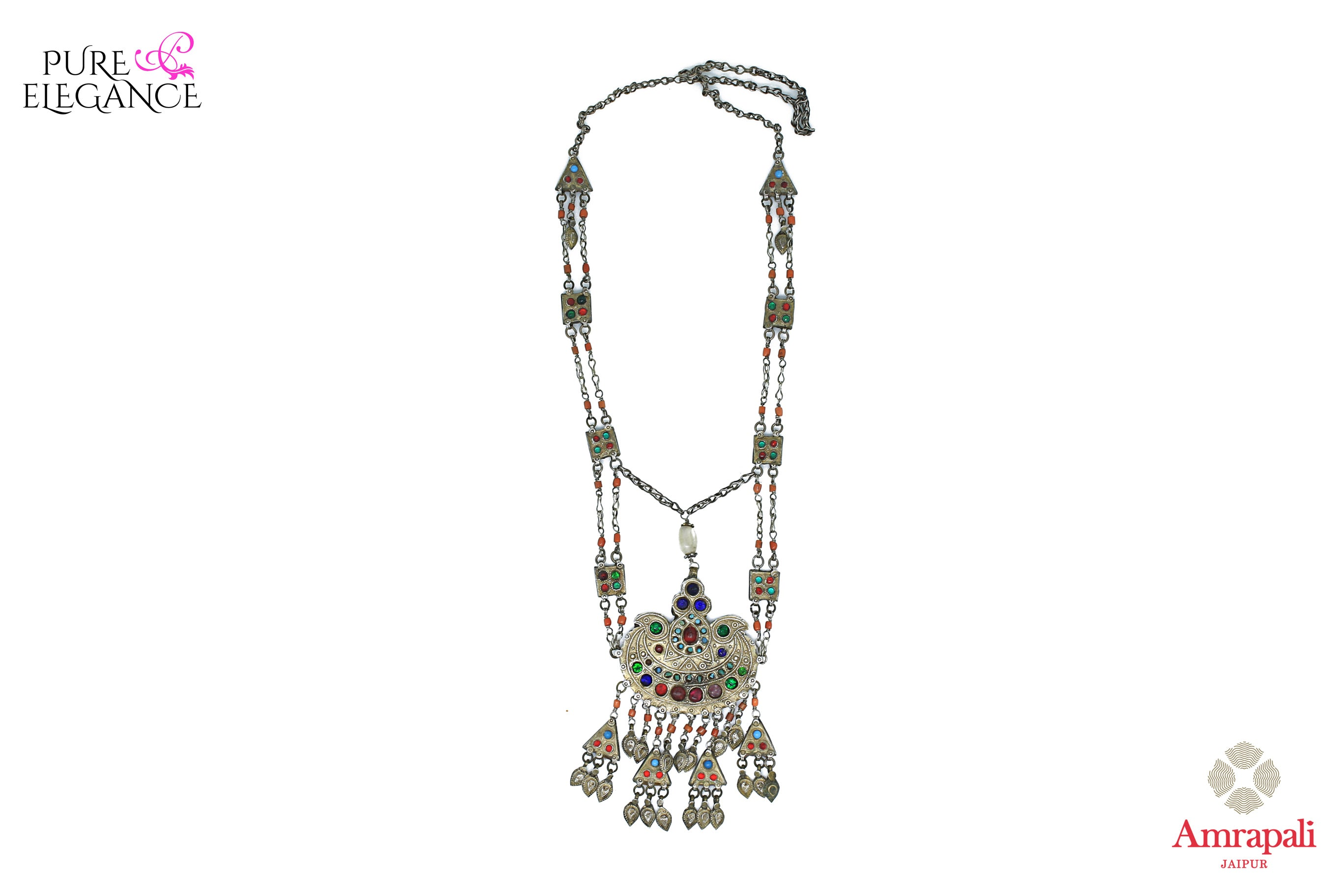 Buy Amrapali silver banjara necklace online in USA with colored glass and beads. Get your hands on an alluring range of Indian silver necklaces from Amrapali in USA. Add extra edge to your ethnic look with ethnic silver jewelry available at Pure Elegance Indian fashion store in USA.-front view