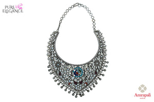 Buy Silver Glass Pearl Choker Necklace online in USA from Amrapali.  If you are looking for Indian silver jewelry in USA, then Pure Elegance Indian fashion store is the place for you. A whole range of exquisite of ethnic Indian jewelry is waiting for you on our shelves, you can also opt to shop online.-full view