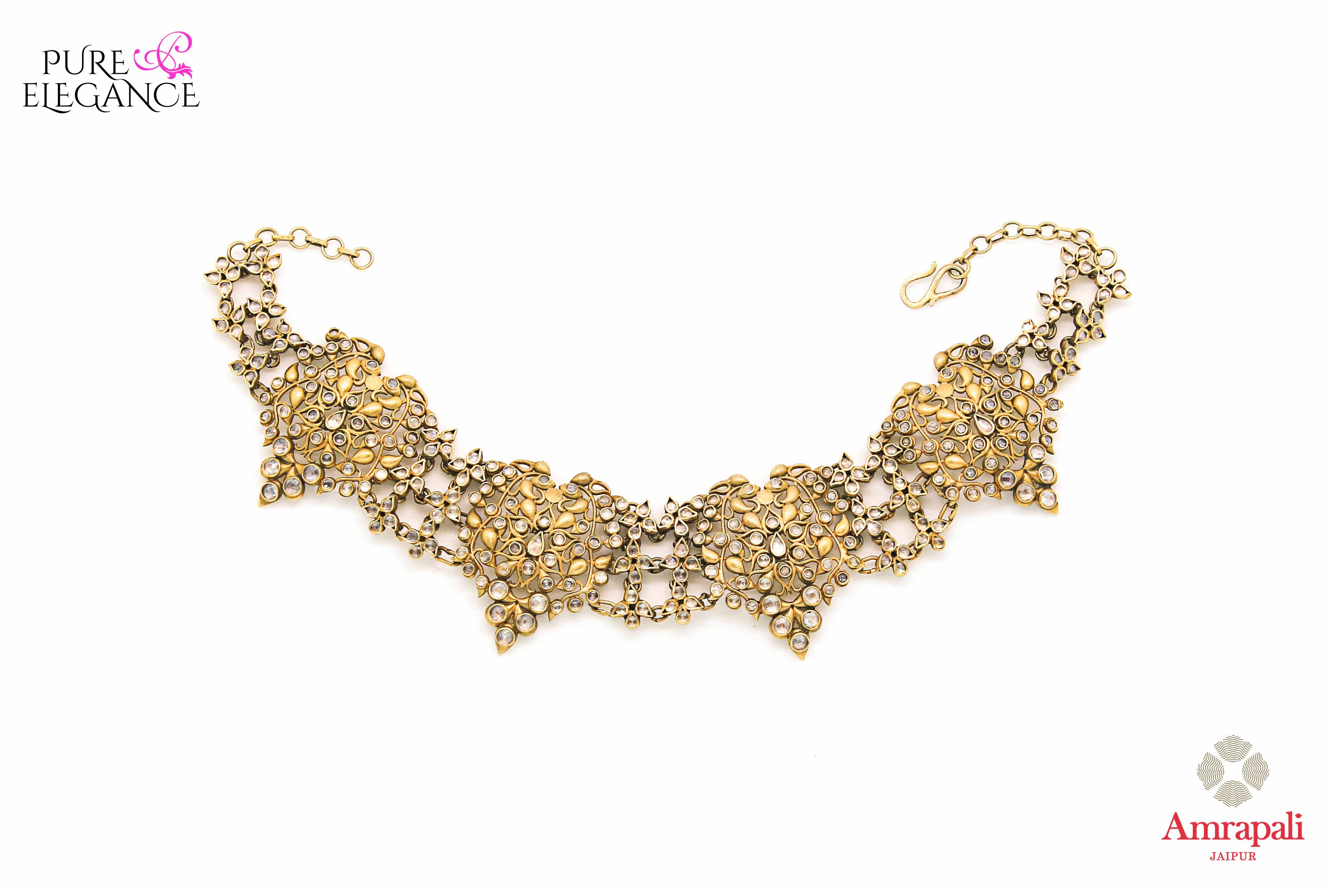 Shop Silver Gold Plated Filigree Glass Choker Necklace online in USA from Amrapali.  If you are looking for Indian silver jewelry in USA, then Pure Elegance Indian fashion store is the place for you. A whole range of exquisite of ethnic Indian jewelry is waiting for you on our shelves, you can also opt to shop online.-full view