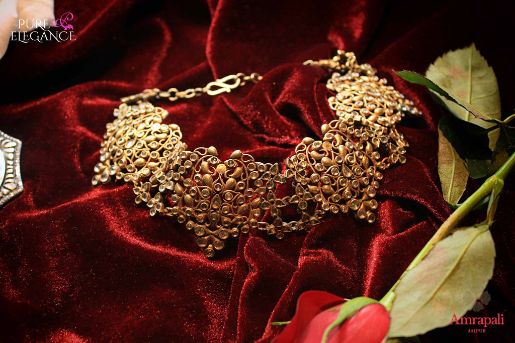 Shop Silver Gold Plated Filigree Glass Choker Necklace online in USA from Amrapali.  If you are looking for Indian silver jewelry in USA, then Pure Elegance Indian fashion store is the place for you. A whole range of exquisite of ethnic Indian jewelry is waiting for you on our shelves, you can also opt to shop online.-flat lay