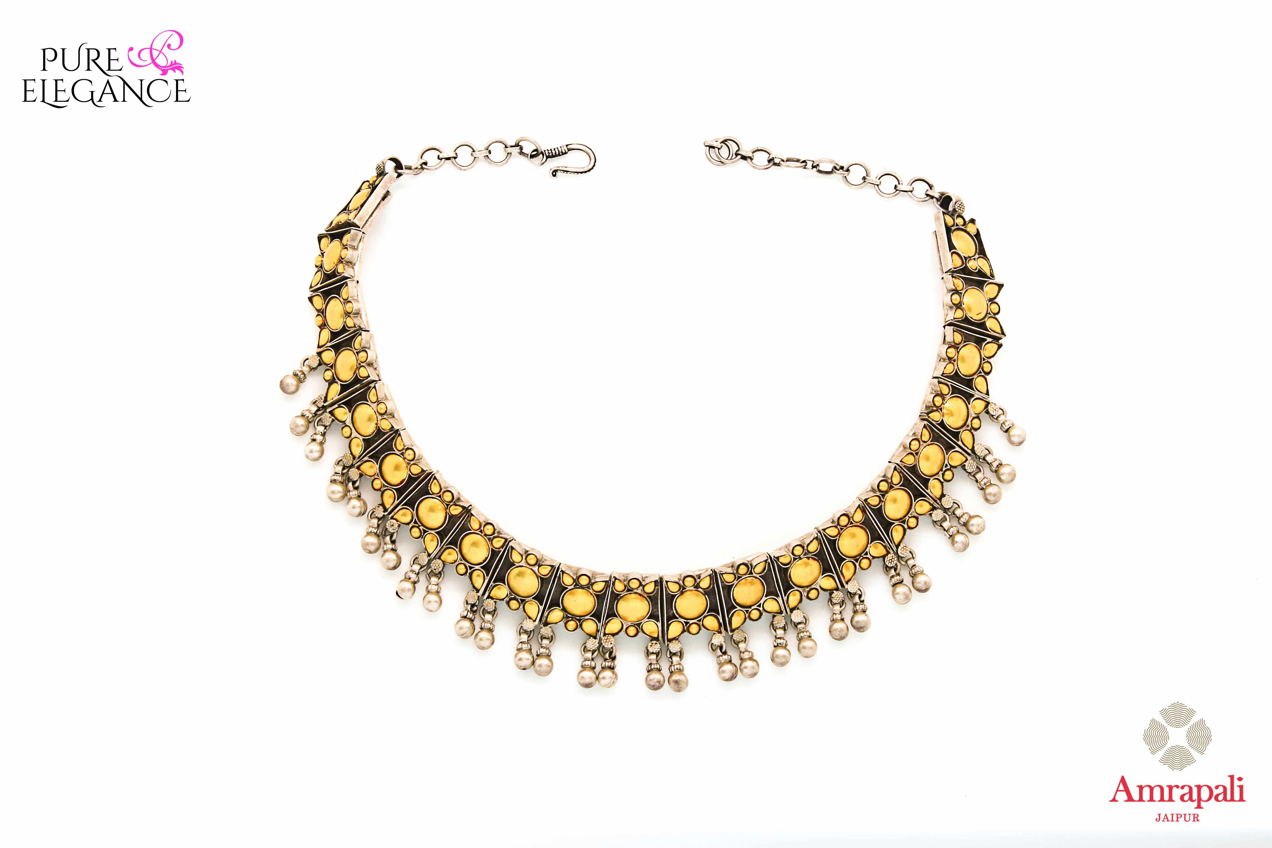 Shop Silver Gold Plated Two Tone Choker Necklace online in USA from Amrapali.  If you are looking for Indian silver jewelry in USA, then Pure Elegance Indian fashion store is the place for you. A whole range of exquisite of ethnic Indian jewelry is waiting for you on our shelves, you can also opt to shop online.-full view
