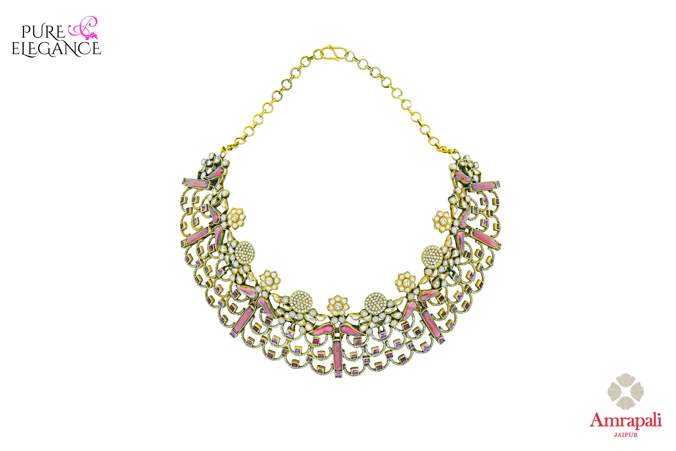 Buy Silver Gold Plated Filigree Glass Zircon Choker Necklace online in USA from Amrapali.  If you are looking for Indian silver jewelry in USA, then Pure Elegance Indian fashion store is the place for you. A whole range of exquisite of ethnic Indian jewelry is waiting for you on our shelves, you can also opt to shop online.-full view