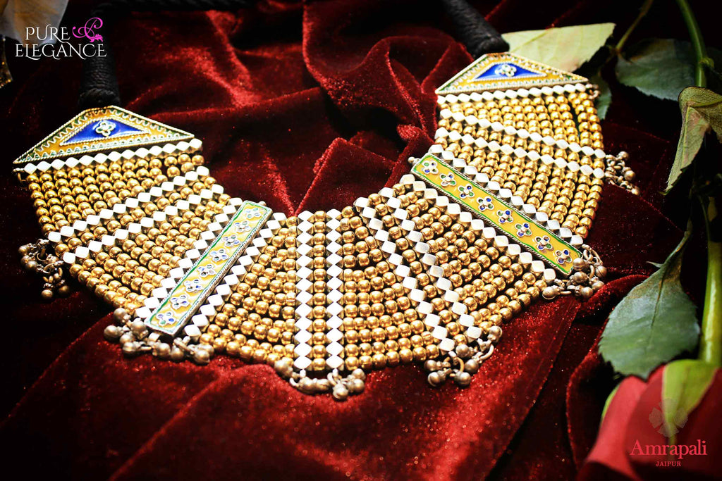 Buy Silver Gold Plated Beads Multi Layer Thread Necklace online in USA from Amrapali.  If you are looking for Indian silver jewelry in USA, then Pure Elegance Indian fashion store is the place for you. A whole range of exquisite of ethnic Indian jewelry is waiting for you on our shelves, you can also opt to shop online.-flat lay