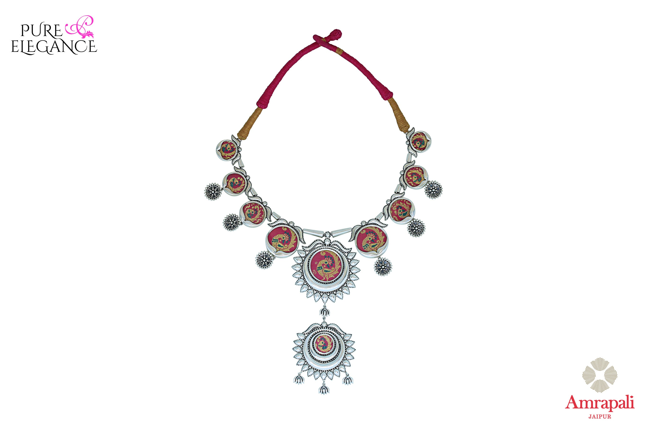 Shop Silver Peacock Painting Thread Necklace online in USA from Amrapali.  If you are looking for Indian silver jewelry in USA, then Pure Elegance Indian fashion store is the place for you. A whole range of exquisite of ethnic Indian jewelry is waiting for you on our shelves, you can also opt to shop online.-full view