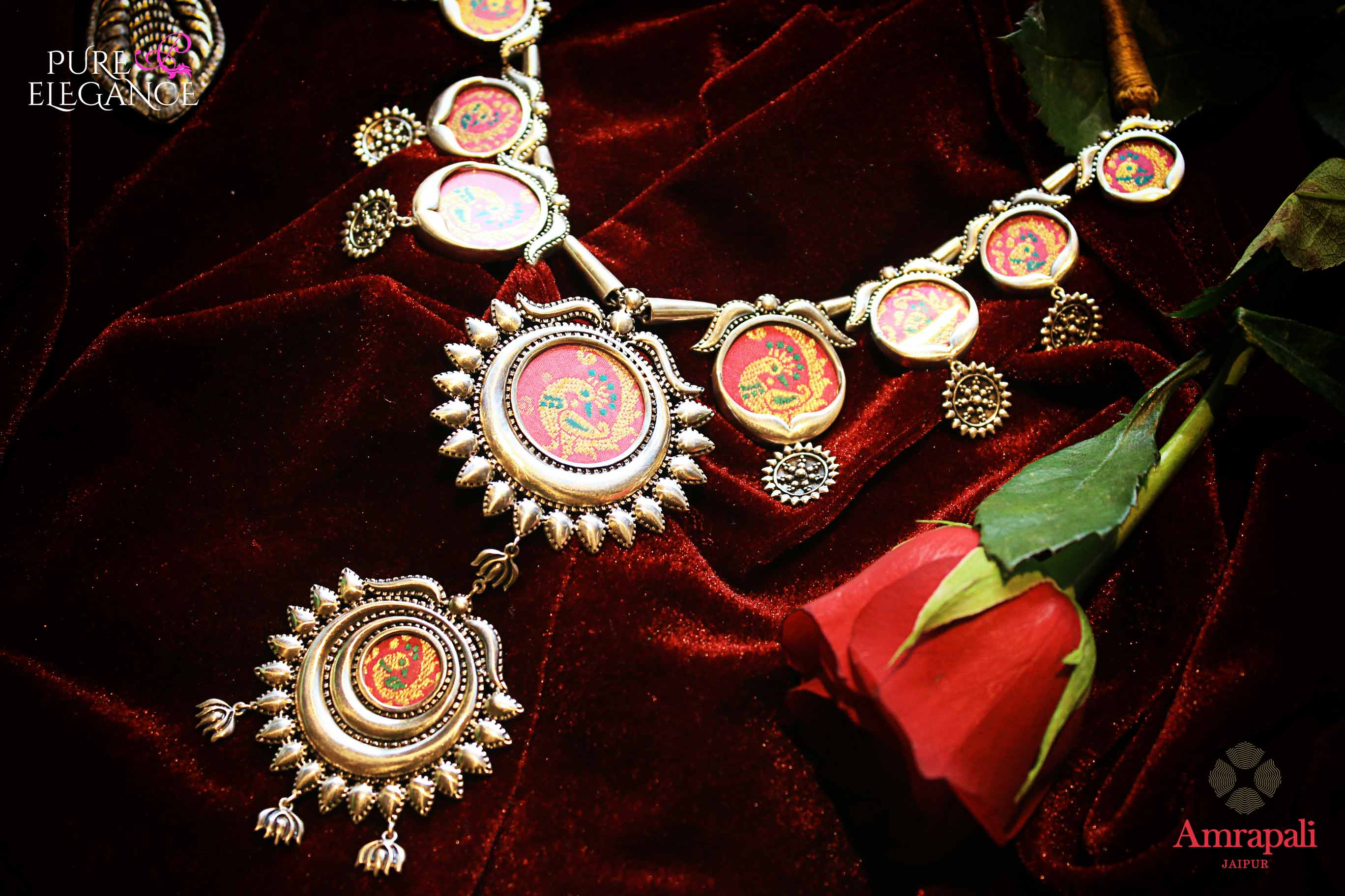 Shop Silver Peacock Painting Thread Necklace online in USA from Amrapali.  If you are looking for Indian silver jewelry in USA, then Pure Elegance Indian fashion store is the place for you. A whole range of exquisite of ethnic Indian jewelry is waiting for you on our shelves, you can also opt to shop online.-flat lay