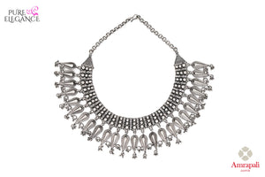 Shop Silver Drop Motif Choker Necklace online in USA from Amrapali.  If you are looking for Indian silver jewelry in USA, then Pure Elegance Indian fashion store is the place for you. A whole range of exquisite of ethnic Indian jewelry is waiting for you on our shelves, you can also opt to shop online.-full view