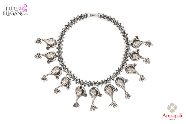 Shop Silver Peacock Motifs Choker Necklace online in USA from Amrapali.  If you are looking for Indian silver jewelry in USA, then Pure Elegance Indian fashion store is the place for you. A whole range of exquisite of ethnic Indian jewelry is waiting for you on our shelves, you can also opt to shop online.-full view