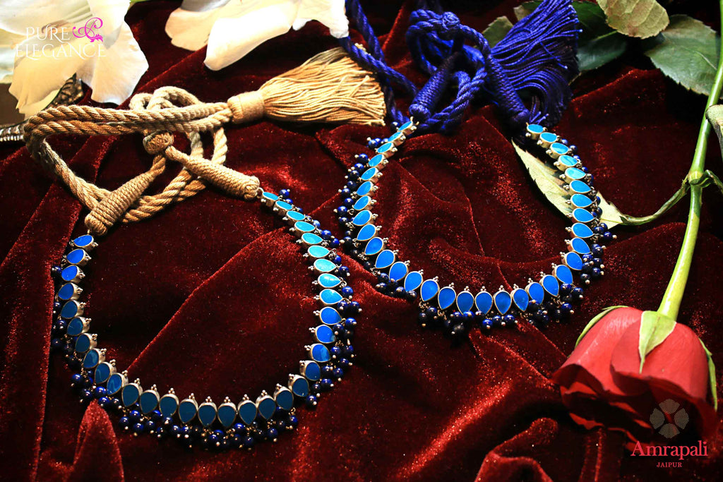 Buy Silver Lapis Enamel Thread Anklet online in USA from Amrapali.  If you are looking for Indian silver jewelry in USA, then Pure Elegance Indian fashion store is the place for you. A whole range of exquisite of ethnic Indian jewelry is waiting for you on our shelves, you can also opt to shop online.-flat lay