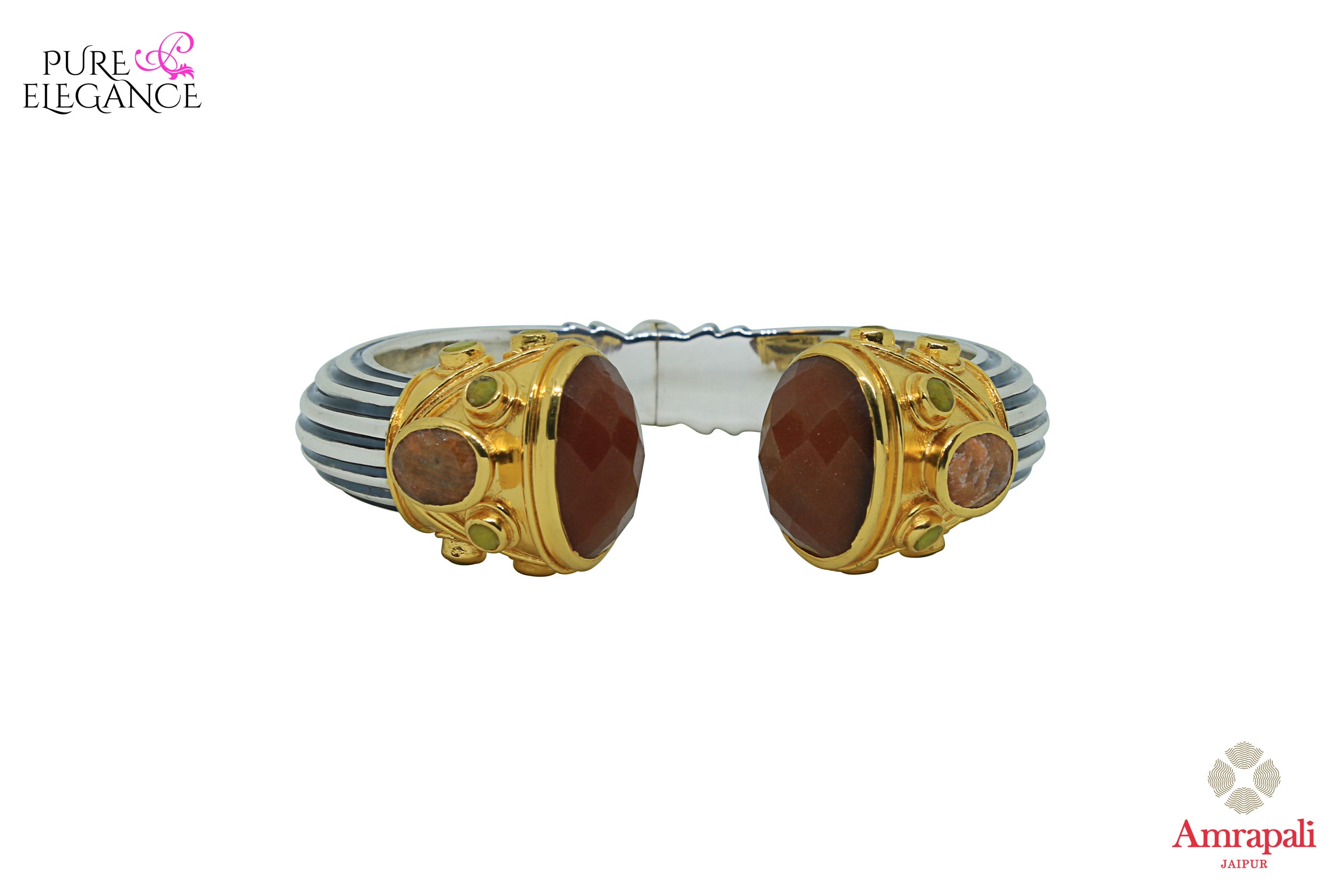 Shop Amrapali silver gold plated stone cuff bracelet with online in USA. Find an exquisite collection of handcrafted silver gold plated jewelry in USA at Pure Elegance Indian fashion store. Complete your festive look with traditional Indian jewellery, silver gold plated earrings, silver jewelry from our online store.-front