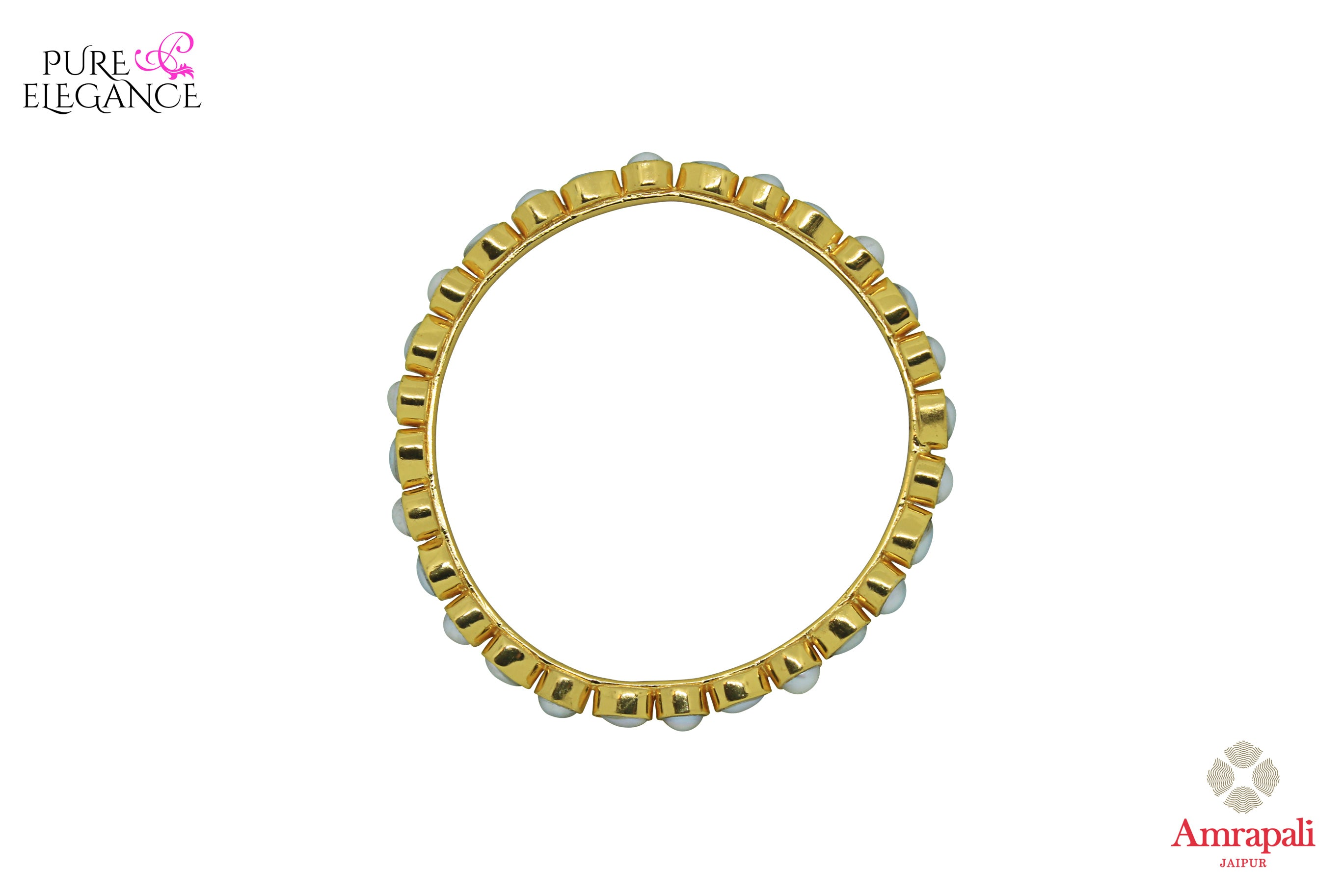 Shop Amrapali silver gold plated pearl bangle with online in USA. Find an exquisite collection of handcrafted silver gold plated jewelry in USA at Pure Elegance Indian fashion store. Complete your festive look with traditional Indian jewelry, silver gold plated earrings, silver jewellery from our online store.-top