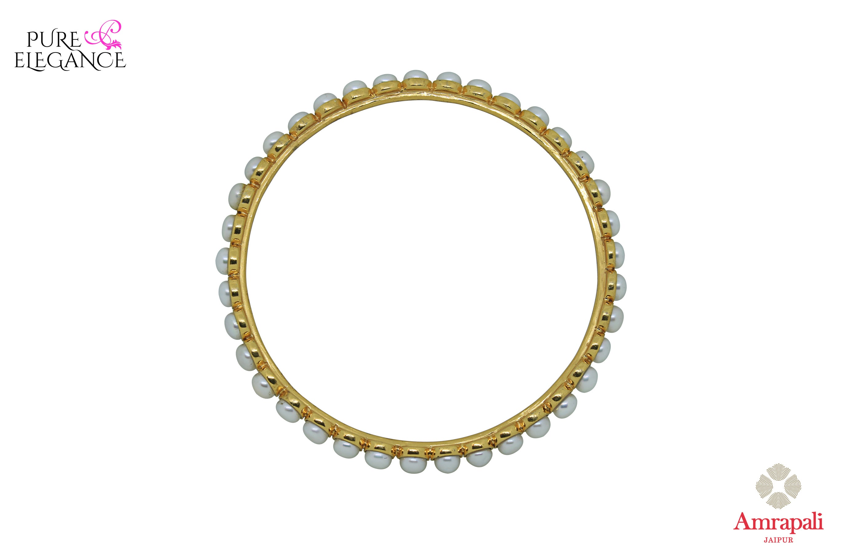 Buy Amrapali silver gold plated bangle online in USA with pearls. Find an exquisite collection of handcrafted silver gold plated jewelry in USA at Pure Elegance Indian fashion store. Complete your festive look with traditional Indian jewelry, silver gold plated earrings, silver jewellery from our online store.-top