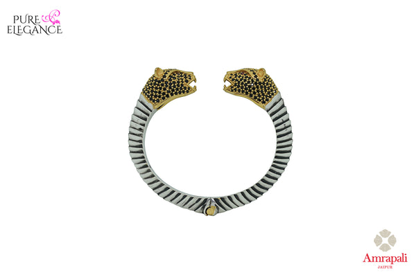 Buy silver gold plated tiger bangle online in USA. Bring out the best in your ethnic look with traditional Indian jewelry available at Pure Elegance fashion store in USA. We have a stunning variety of silver gold plated jewelry by Amrapali also available at our online store. Shop now.-side view
