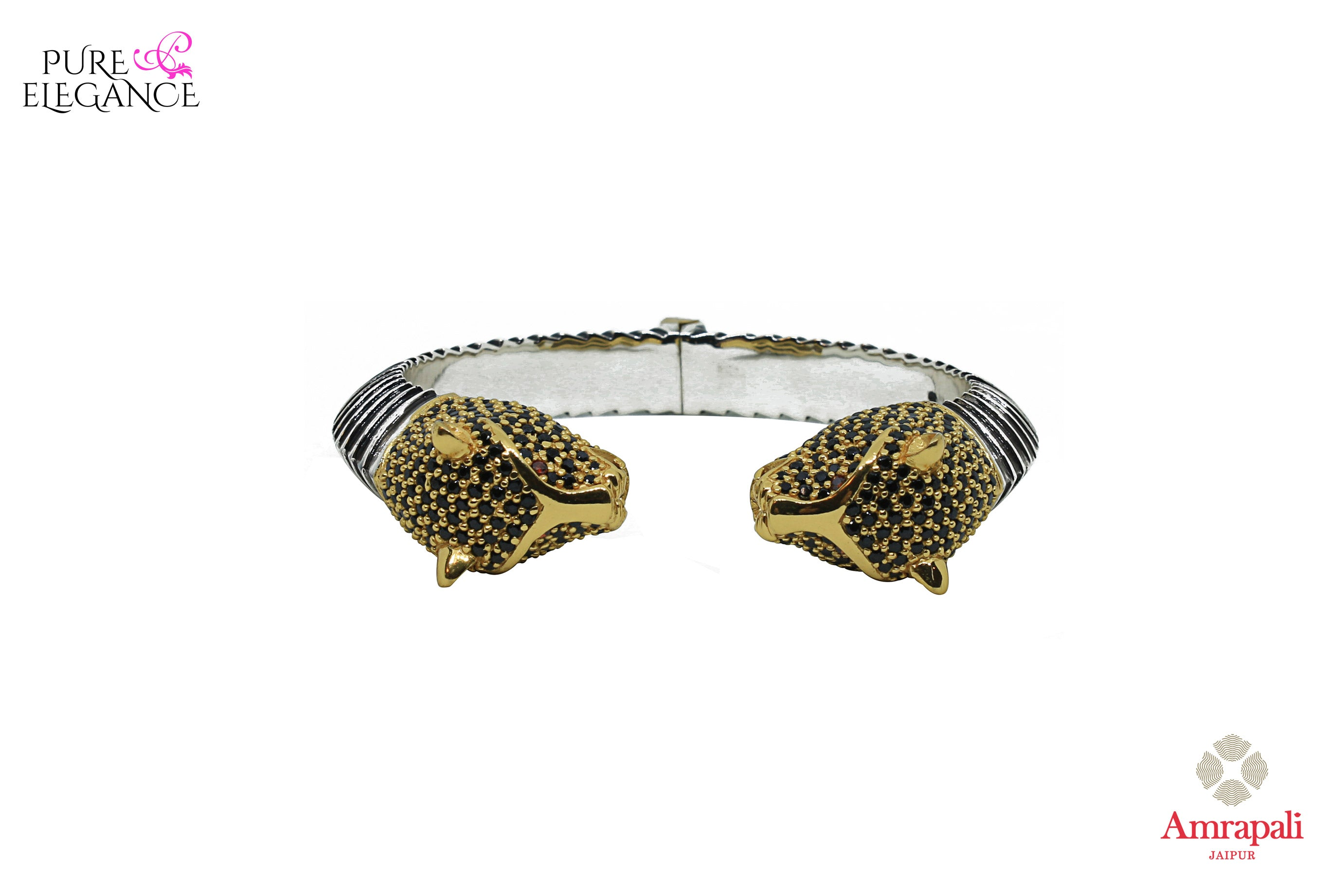 Buy silver gold plated tiger bangle online in USA. Bring out the best in your ethnic look with traditional Indian jewelry available at Pure Elegance fashion store in USA. We have a stunning variety of silver gold plated jewelry by Amrapali also available at our online store. Shop now.-front view