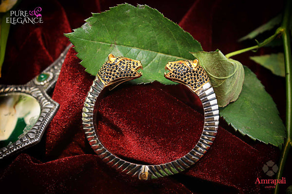 Buy silver gold plated tiger bangle online in USA. Bring out the best in your ethnic look with traditional Indian jewelry available at Pure Elegance fashion store in USA. We have a stunning variety of silver gold plated jewelry by Amrapali also available at our online store. Shop now.-full view