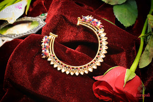 Buy Amrapali silver gold plated white glass bangle online in USA with multi beads. Find an exquisite collection of handcrafted silver gold plated jewelry in USA at Pure Elegance Indian fashion store. Complete your festive look with traditional Indian jewelry, silver gold plated earrings, silver jewellery from our online store.-flatlay