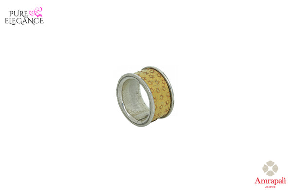 Buy Amrapali. silver gold plated band ring online in USA. An exquisite collection of beautiful Indian silver gold plated jewelry is waiting at Pure Elegance exclusive Indian fashion store in USA or shop online at the comfort of your home.-side view