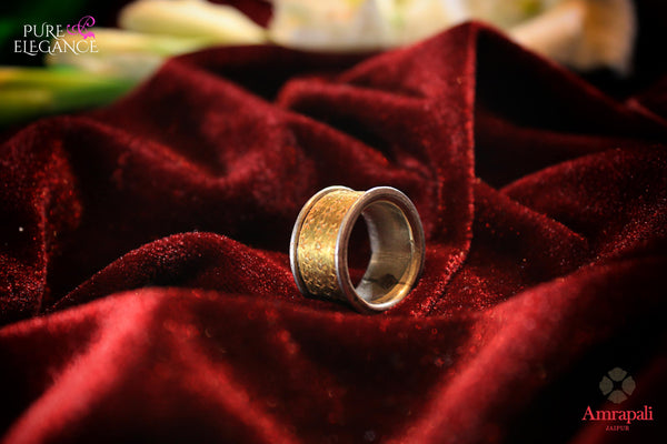 Buy Amrapali. silver gold plated band ring online in USA. An exquisite collection of beautiful Indian silver gold plated jewelry is waiting at Pure Elegance exclusive Indian fashion store in USA or shop online at the comfort of your home.-full view