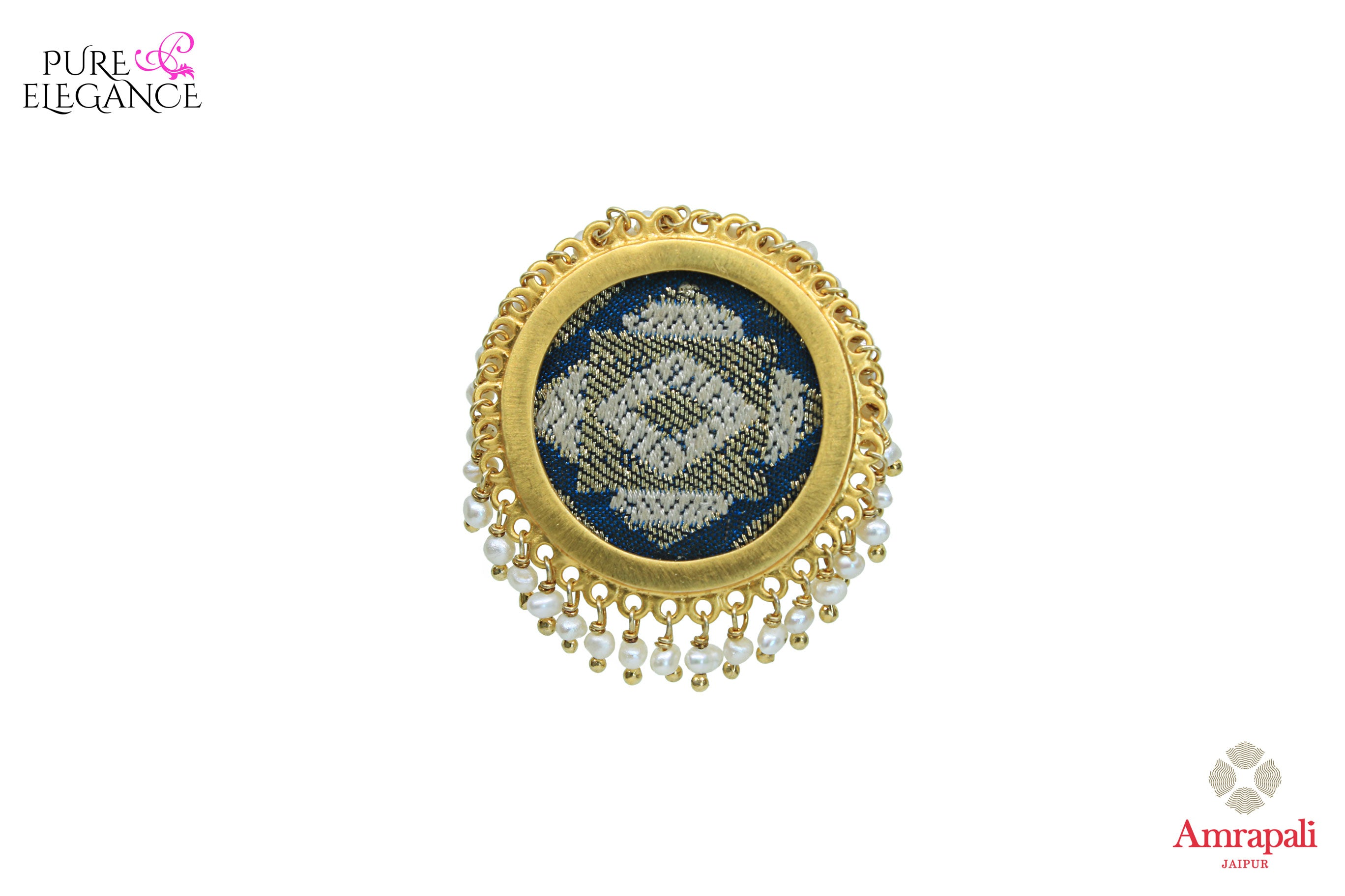 Buy Amrapali silver gold plated ring online in USA with hanging pearls. An exquisite collection of beautiful Indian silver gold plated jewelry is waiting at Pure Elegance exclusive Indian fashion store in USA or shop online at the comfort of your home.-front view