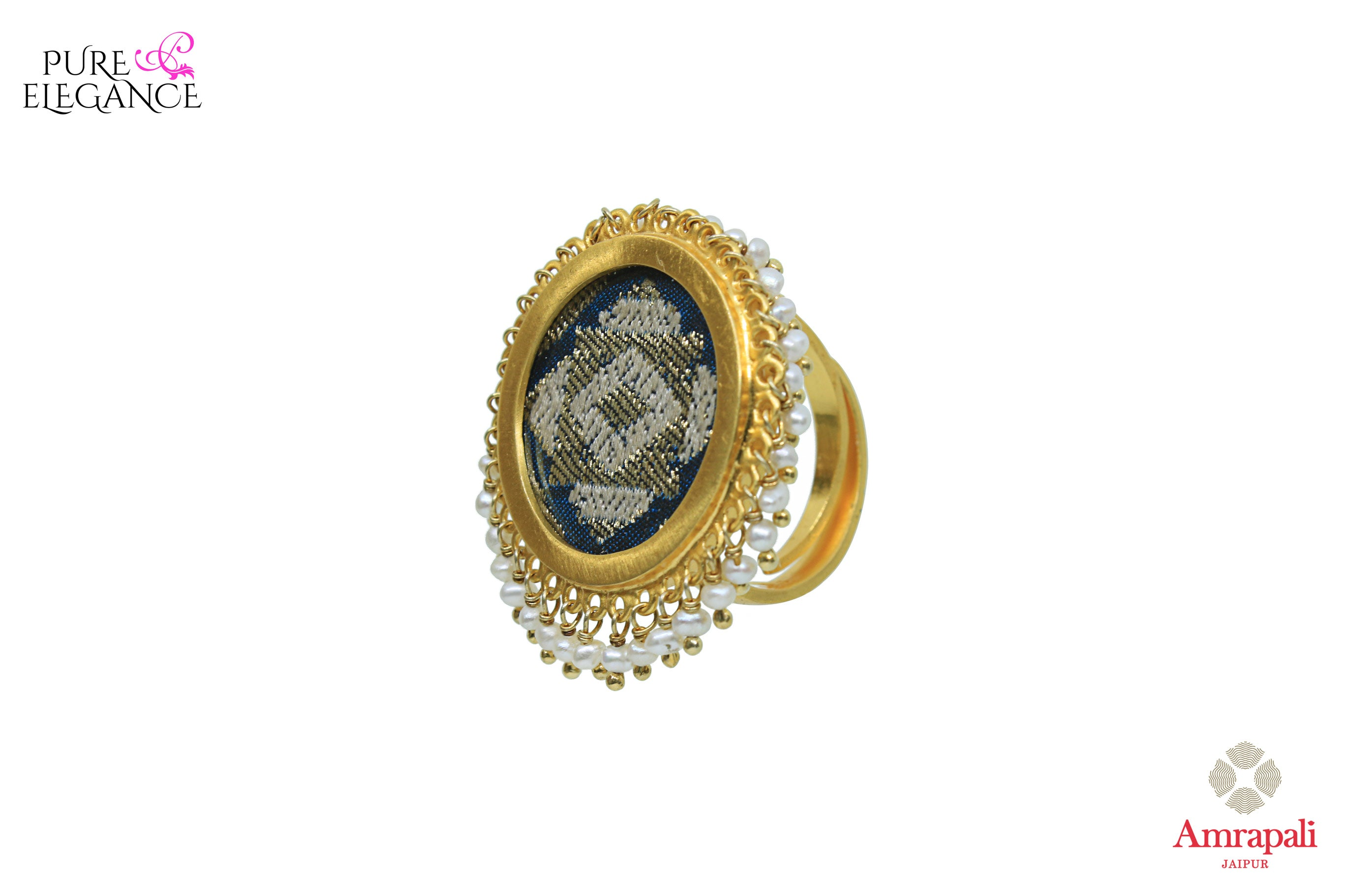 Buy Amrapali silver gold plated ring online in USA with hanging pearls. An exquisite collection of beautiful Indian silver gold plated jewelry is waiting at Pure Elegance exclusive Indian fashion store in USA or shop online at the comfort of your home.-side view