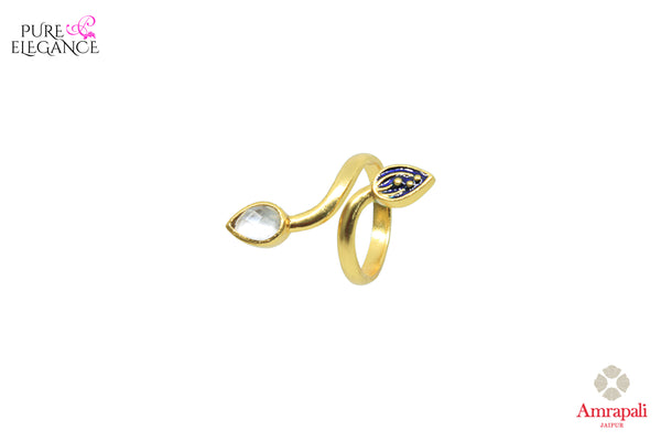 Buy Amrapali silver gold plated glass and enamel leaf design ring online in USA. An exquisite collection of beautiful Indian silver gold plated jewelry is waiting at Pure Elegance exclusive Indian fashion store in USA or shop online at the comfort of your home.-front view 2