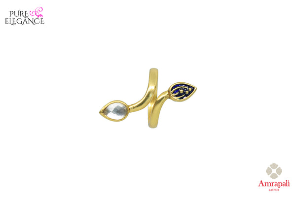 Buy Amrapali silver gold plated glass and enamel leaf design ring online in USA. An exquisite collection of beautiful Indian silver gold plated jewelry is waiting at Pure Elegance exclusive Indian fashion store in USA or shop online at the comfort of your home.-front view