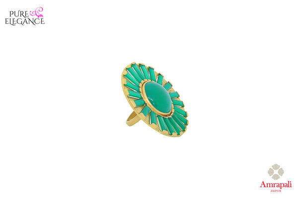 Buy Amrapali silver gold plated green stone floral ring online in USA. An exquisite collection of traditional Indian silver gold plated jewellery is waiting for you at Pure Elegance exclusive Indian fashion store in USA or shop online at the comfort of your home.-side view