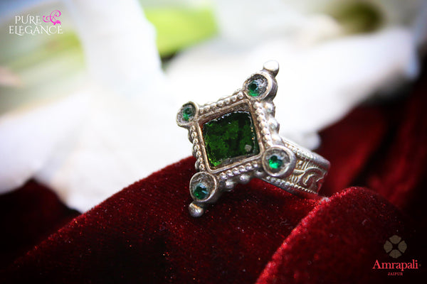 Buy Amrapali silver ring online in USA with green stone. An exquisite collection of traditional Indian silver jewellery is waiting for you at Pure Elegance exclusive Indian fashion store in USA or shop online at the comfort of your home.-full view