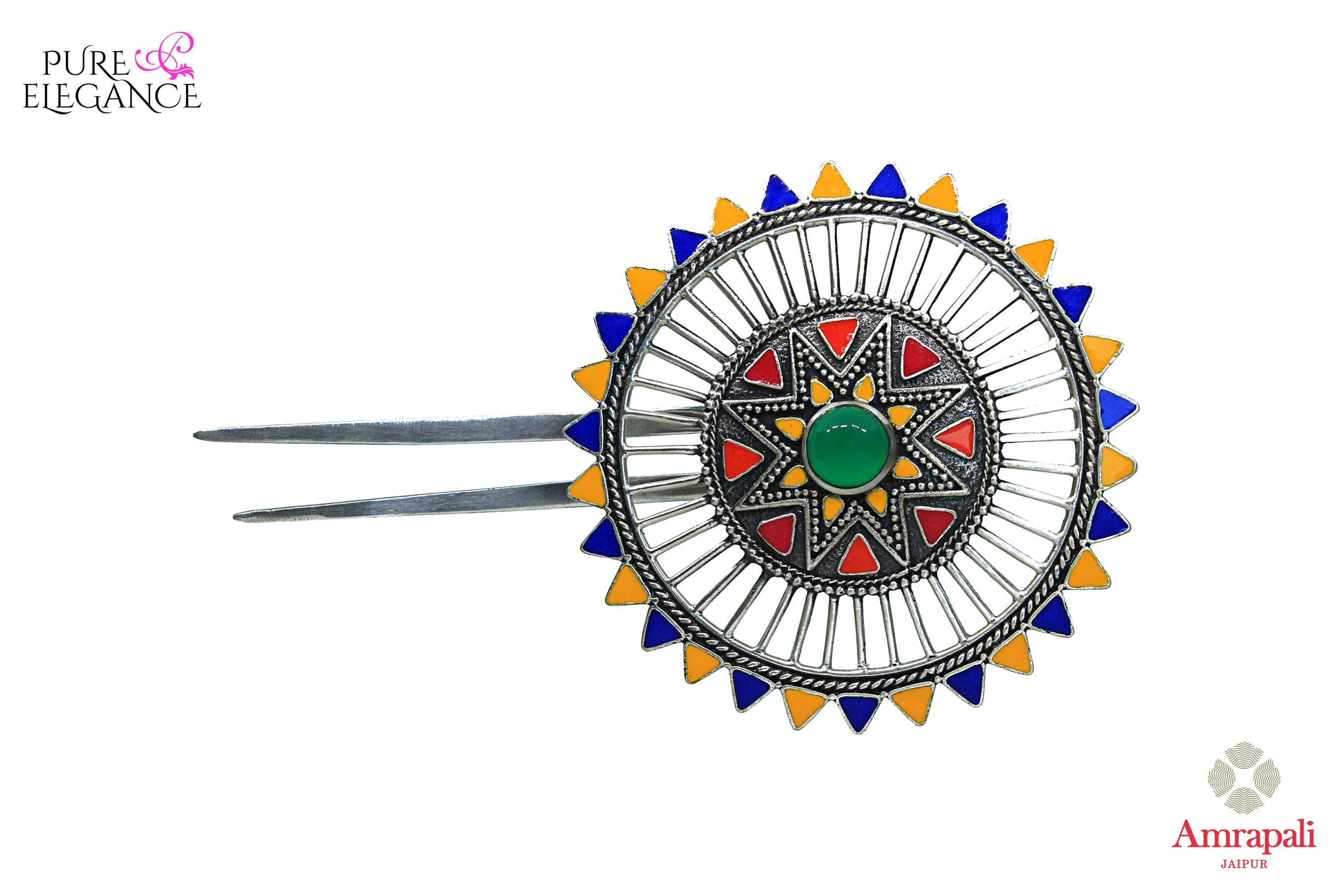 Buy Amrapali silver gold plated multicolor enamel floral hairpin online in USA. An exquisite collection of traditional Indian silver gold plated jewellery is waiting for you at Pure Elegance exclusive Indian fashion store in USA or shop online at the comfort of your home-front view