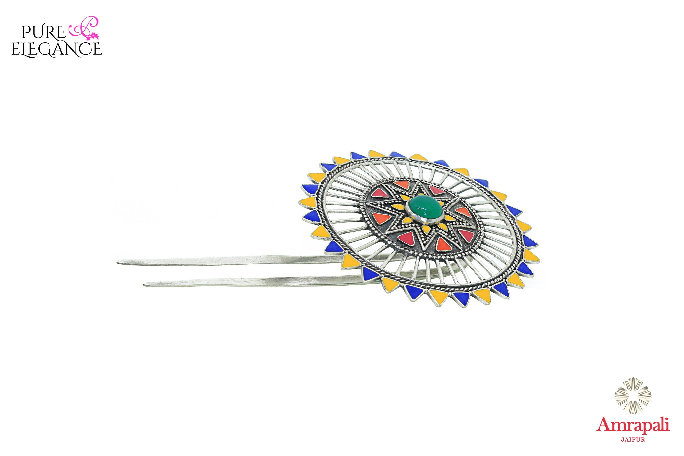 Buy Amrapali silver gold plated multicolor enamel floral hairpin online in USA. An exquisite collection of traditional Indian silver gold plated jewellery is waiting for you at Pure Elegance exclusive Indian fashion store in USA or shop online at the comfort of your home.-side view