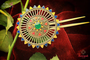 Buy Amrapali silver gold plated multicolor enamel floral hairpin online in USA. An exquisite collection of traditional Indian silver gold plated jewellery is waiting for you at Pure Elegance exclusive Indian fashion store in USA or shop online at the comfort of your home.-full view